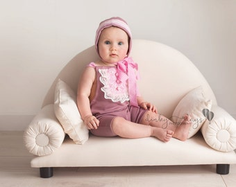 sitter girls rompers and bonnet set photography prop UK seller