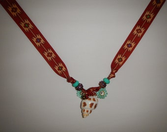 Necklace with SW Indian patters and azure flower charms