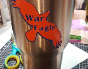 30 oz Steel Tumbler with Auburn War Eagle Image