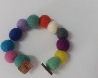 Felted wool ball bracelet