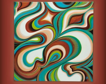 "Retro Modern Groove by JR 20"" x 20"" Abstract Acrylic Painting on Gallery Strectch Canvas, 3/4"" Deep"