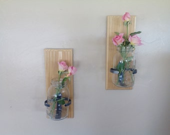 Two Hanging  1 qt. Mason Jar Holder with Vintage Jars , Custom holders with Redwood backing , Made in USA