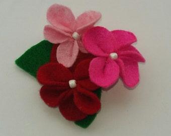 handmade felt flower brooch. gift idea