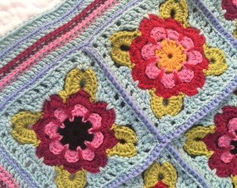 Ready to Ship ~ Painted Roses Crochet Baby/Lap Blanket