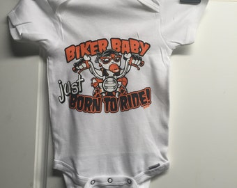 Biker Baby Born to Ride Infant Baby Onsie White   Cute cotton