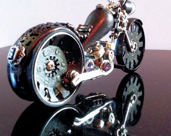 Steampunk motorcycle. Gray Ghost