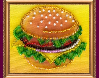 """Bead Embroidered Magnet """"Cheeseburger"""""""