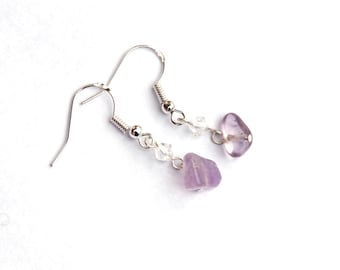 Ametrine and Crystal earrings - Ametrine gemstone chips - Swarovski crystal - Sterling silver components