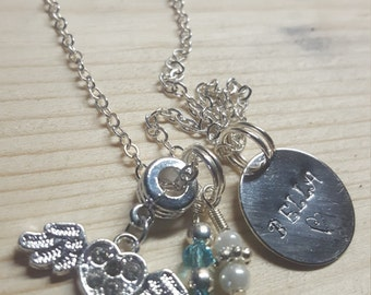 Bella, a flower girl charm and beaded necklace