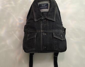 Exclusive Denim Backpack Upcycled Denim Jacket