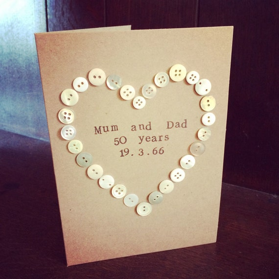 Button Heart Outline Card (wedding card, anniversary card, engagement card)