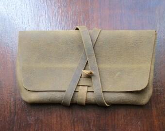 Handmade full grain leather clutch / wallet -- distressed rustic brown