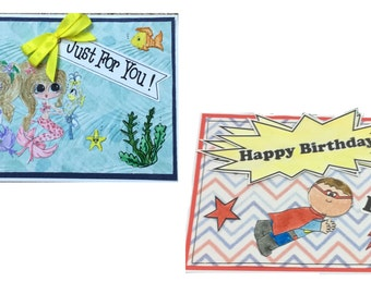 SALE 25% OFF - Mermaid or Super Hero Pop Up Card - Just for You or Happy Birthday - Thank You, Especially for You, Thinking of You, Congratu