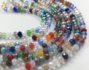 1Full Strand Mixed Color Crystal Rondelle Beads,4*3mm Faceted Crystal Glass Beads For Jewelry Making