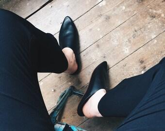 Black Morocco Leather slipper slipper both men and women - slipper Moroccan black leather unisex