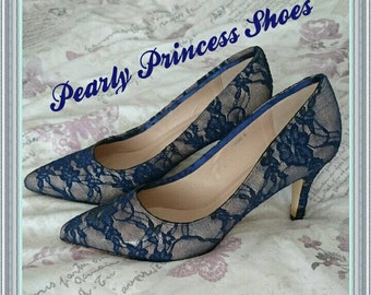 Navy lace bridesmaid shoes