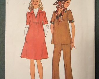 Vintage Simplicity 7153 Maternity Dress Top Pants & Scarf Pattern Misses size 10