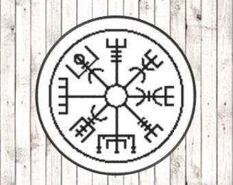 Viking Vegvisir Protection/Safe Travel Symbol Design [Cross Stitch Pattern] **Download PDF Pattern Only-Instant Download**