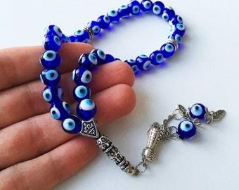 Glass Greek Komboloi - glass evil eye beads - evil eye komboloi -  glass komboloi - nazar boncuk - turkish evil eye - greek beads