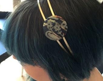 Double headband vintage button