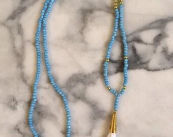 Light Blue Beaded Necklace with Custom Tassel