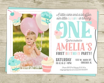 Cupcake Birthday Invitation, Cupcake Invitation- Photo Invitation Printable 1st Birthday Cupcake Pink and Blue