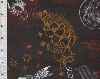 "Fabri Quilt Horoscope New Dawn Scorpio sign 100% cotton 43"" Fabric by the yard,g63"