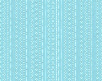 Riley Blake Floriography by Chelsea Anderson fabric by the yard summer fabric aqua blue stripes