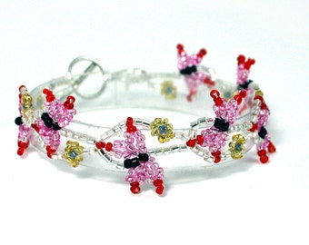 Pink Butterfly Beaded Bracelet - Butterfly Inspired Jewelry - Butterfly Fashion Jewelry - Butterfly Jewelry - Mother's Day Gift