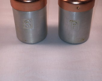 Vintage Aluminum Salt and Pepper Shakers with Copper Colored Tops