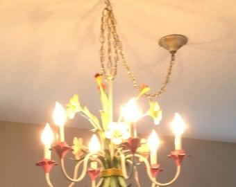 Metal multi-colored flower chandelier