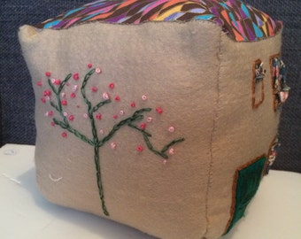 Door stop house, made from felt with hand embroidery