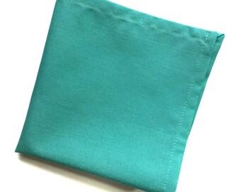 Aqua Blue Solid Color Pocket Square