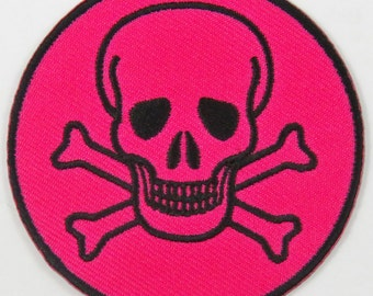 Skull & Cross Bones Symbol/Sign (Pink) Iron On/ Sew On Cloth Patch Badge Appliqué cybergoth cyber punk goth rocker emo rave Size: 6.8cm