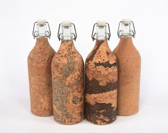 ReBOTTLE 1-litre Glass Water Bottle covered with Cork - FREE SHIPPING