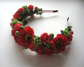Red floral crown , Flower headband, Bridal headband , Flower crown, Flower wreath, Hair band, Headwear,  Festival Garland, Wedding circlet