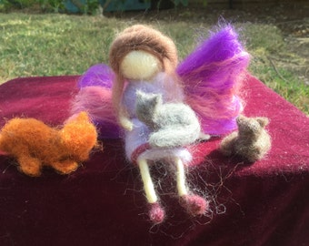 Felted fairy,cat fairy, cat lady, seated fairy, Waldorf doll,needle felt fairy , spiritual,miniature fairy, felted cat, natural materials