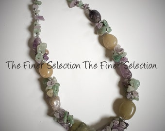 glass beaded necklace in celadon color