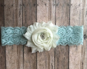 lace headband-teal headband-Teal and beige rosette baby headband 0-3 months