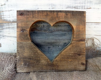 Wood Heart Sign - Corrugated Metal (Small) - Nursery Room - Baby Girl - Baby Boy - Wedding Sign - Kids Room Sign - Family Sign - Reclaimed
