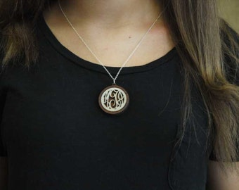 Wooden Raleigh Monogram Bezel Necklace