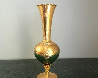 Vintage Green Glass Pedestal Vase