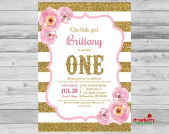 Pink and Gold Birthday Invitation, Girl First Birthday Invitation, Custom Digital Printable, A3