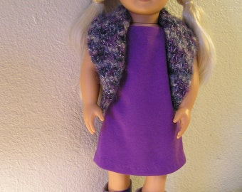 "SALE on Complete Purple Outfit of Knit Dress, Crochet Vest and Faux Leather Boots for American Girl or 18"" Doll"
