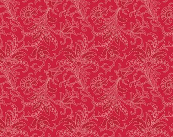 BTHY - Camile's Vintage by David's Textiles, Pattern #DT-2599-2C Red, Beautiful Red Floral Pattern on  Lighter Red, Repeat 2.5 Inches