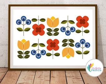 Scandinavian Style Flowers Print (landscape) - Mid-Century Design Print