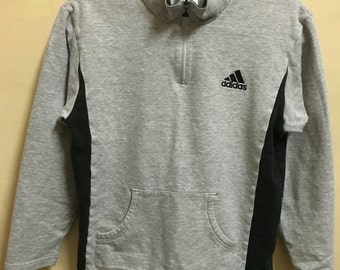 Vintage 90's Adidas Grey 3 Stripes Sport Classic Design Skate Sweat Shirt Sweater Varsity Jacket Size S #A336