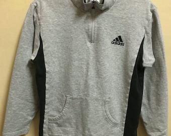 Vintage 90's Adidas Grey 3 Stripes Sport Classic Design Skate Sweat Shirt Sweater Varsity Jacket Size S #A336
