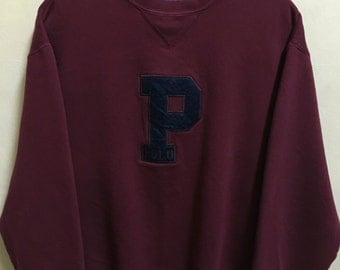 Vintage 90's Polo by Ralph Lauren Maroon Classic Design Skate Sweat Shirt Sweater Varsity Jacket Size M #A344