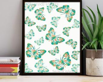 butterfly print, printable art, vintage print, instant download, butterflies art, digital design, graphic design, wall art, modern decor